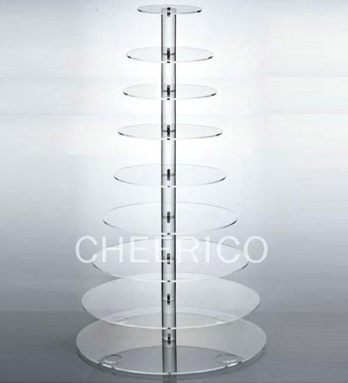 10 Tier Maypole Acrylic Round Cupcake Tower